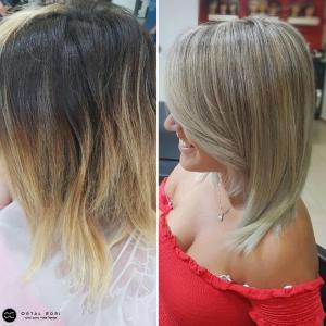 נטרול גוון כתום וצבע שיער בלונד אורטל אדרי עיצוב שיער