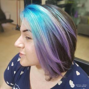 בליאז צבעוני בגוונים כחולים בעמקים אורטל אדרי עיצוב שיער