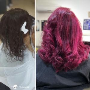 צבע שיער סגול נועז אורטל אדרי עיצוב שיער