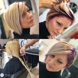 צבע שיער בלונדיני לשיער קצר מספרת אוטרל אדרי בעפולה