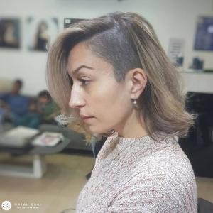 תספורת נשים חצי גלח שיער אורך מספרת אורטל אדרי בעפולה