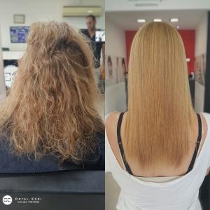 החלקת שיער יפנית לשיער בלונדיני בעפולה