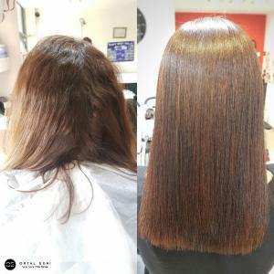 החלקת שיער לשיער פגום במספרת אורטל אדרי בעפולה