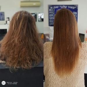 החלקת שיער לשיער צבוע במספרת אורטל אדרי