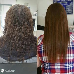 החלקת שיער לשיער מקורזל אורטל אדרי עיצוב שיער