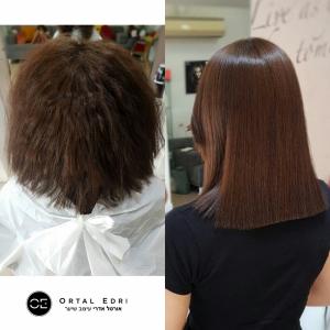 החלקת שיער לשיער קצר במספרת אורטל אדרי